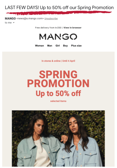 on-sale product email campaign