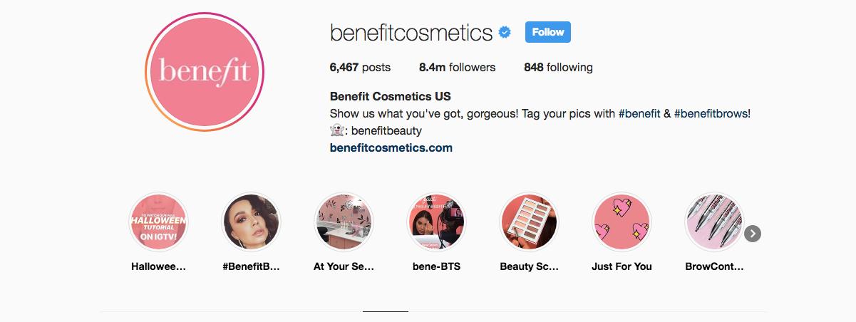Benefit Cosmetics instagram tutorials