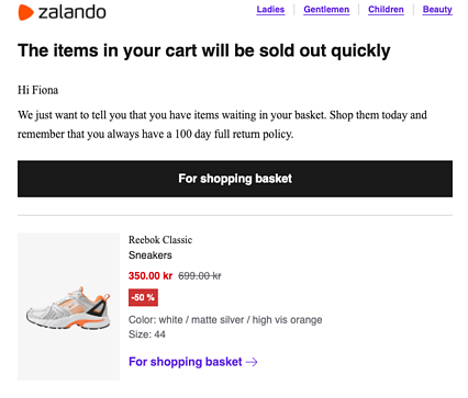 zalando cart abandonment email