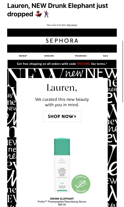 Sephora Product Personalization Email