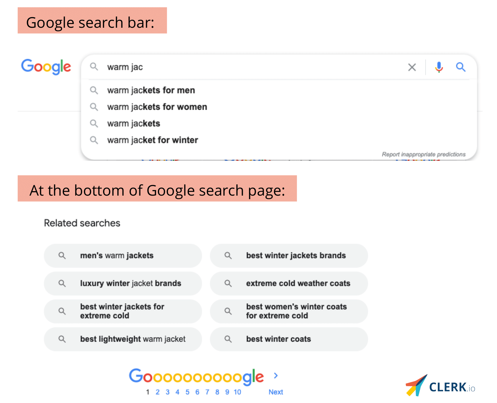 Google search autocomplete feature