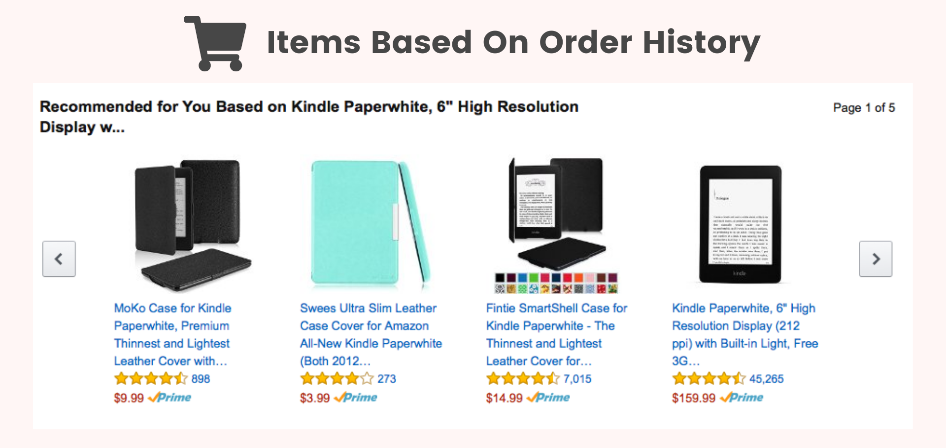 Amazon items based on order history